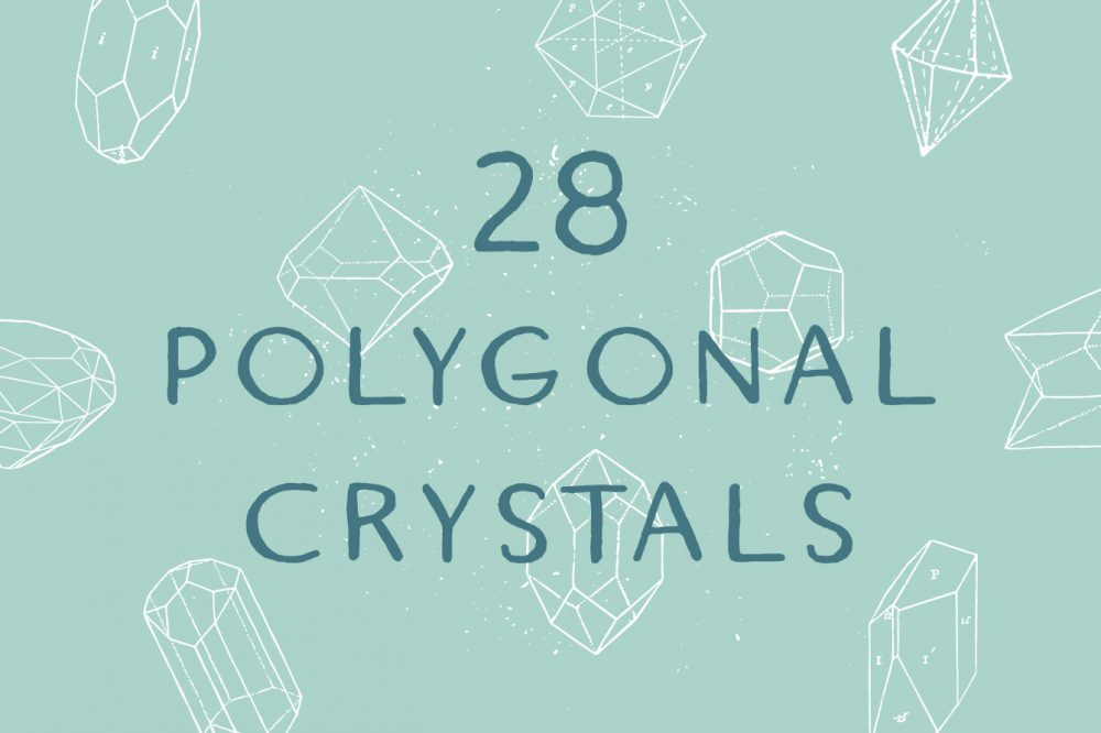 28 Polygonal Crystals – Free Vector Set 01