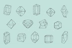 28 Polygonal Crystals – Free Vector Set 03