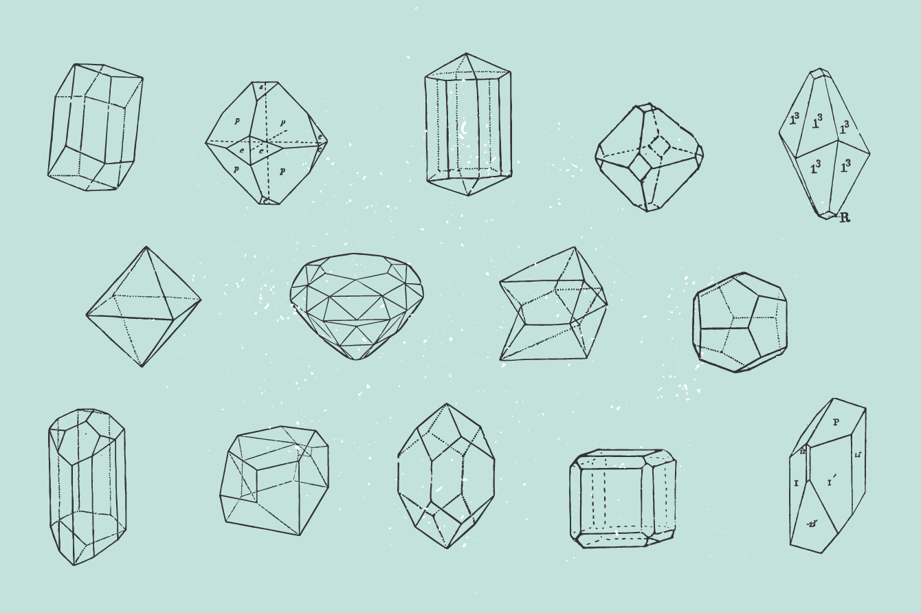 28 Handrawn Polygonal Crystals - Graphic Goods