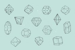 28 Polygonal Crystals – Free Vector Set 04