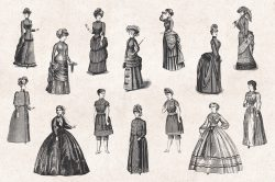 Ladies' Fashion – Vintage Engraving Illustrations 02