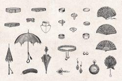 Ladies' Fashion – Vintage Engraving Illustrations 07