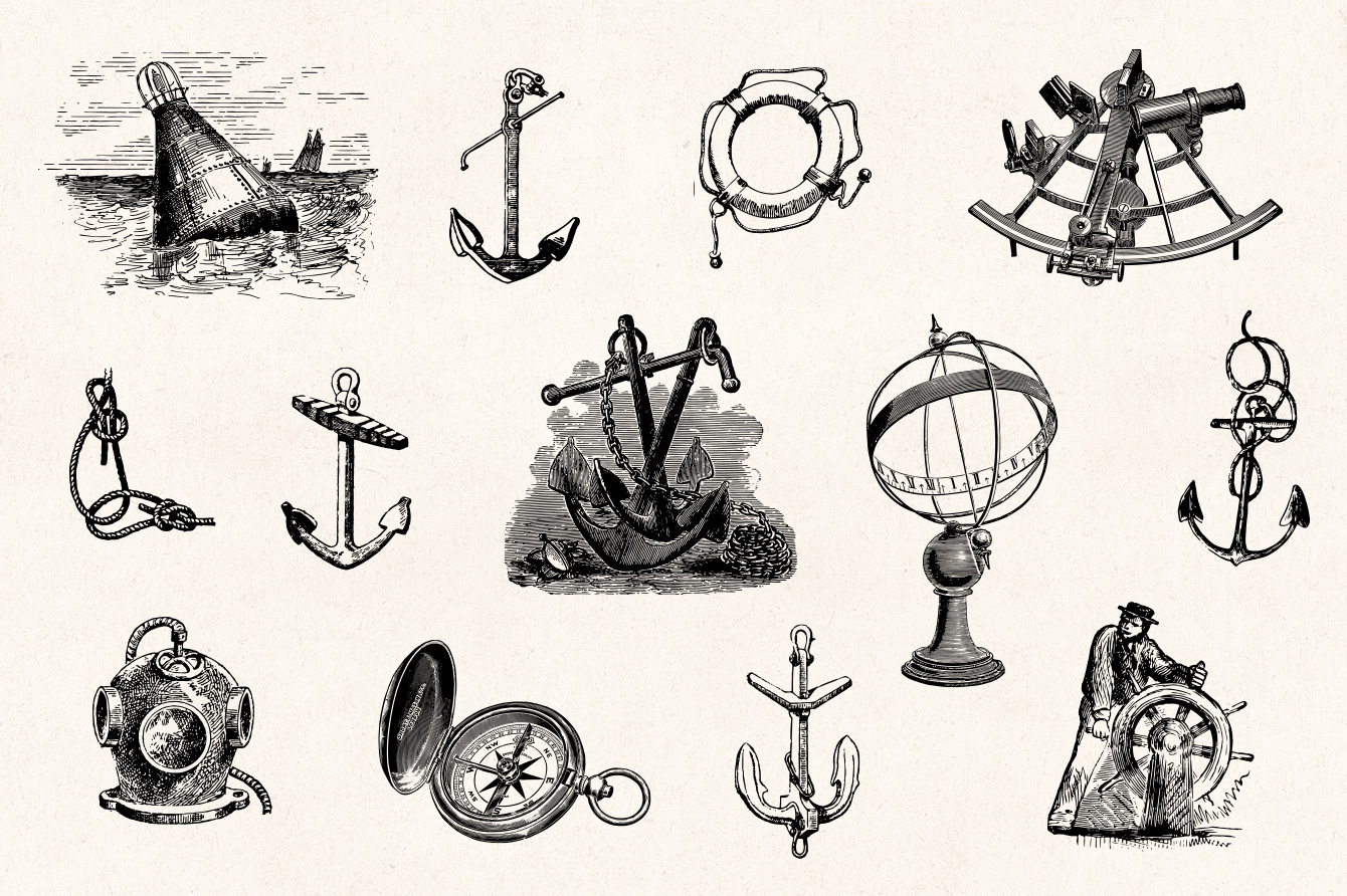 Nautical Engraving Illustrations , Graphic Goods
