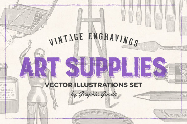 Art Supplies Vintage Illustrations 01