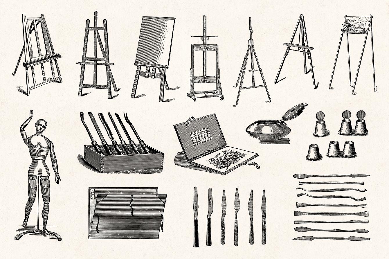 Art Supplies - Vintage Illustrations - Graphic Goods