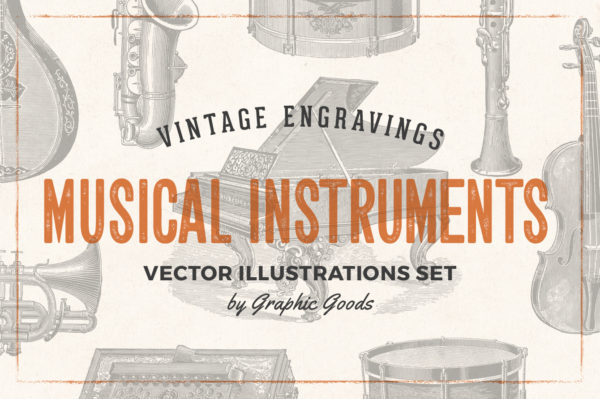 Musical Instruments Engravings Set 01