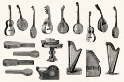 Musical Instruments Engravings Set 03