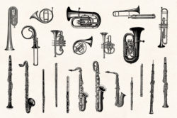 Musical Instruments Engravings Set 04