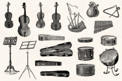 Musical Instruments Engravings Set 05
