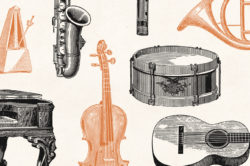 Musical Instruments Engravings Set 07