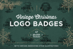 Vintage Christmas Logo Badges 01