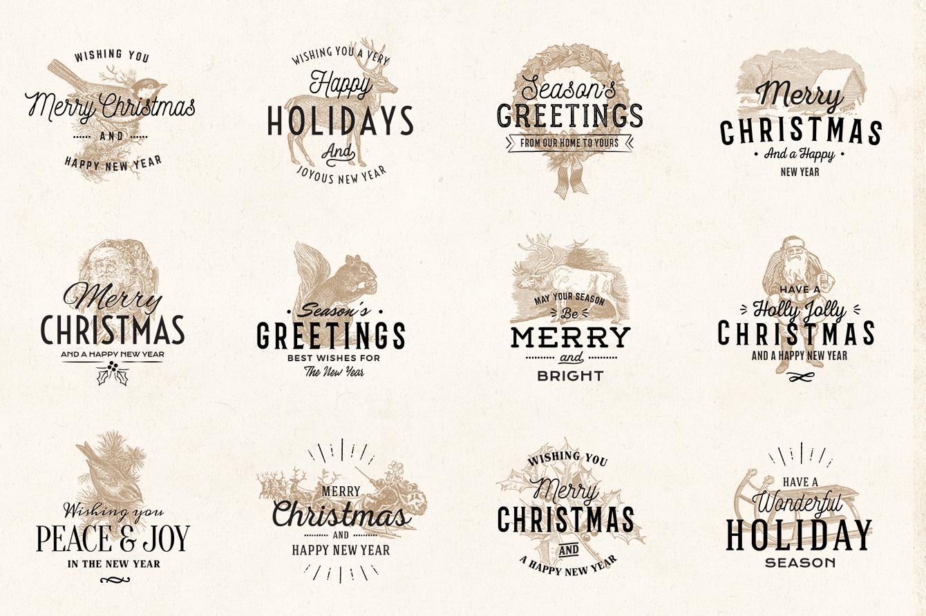 vintage christmas logo badges 02 - Christmas Logos