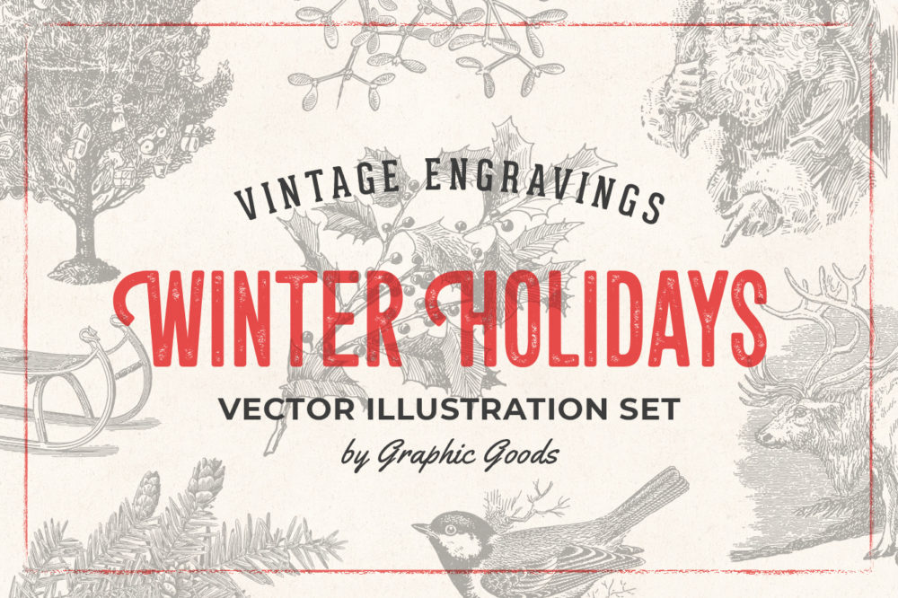 Winter Holidays – Vintage Engraving Illustration Set by Graphic Goods 01